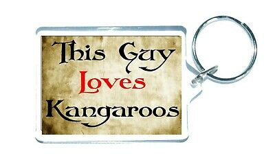 Kangaroo Keyring - This Guy Loves - Novelty Cute Animal Custom Gift Present • 3.25£