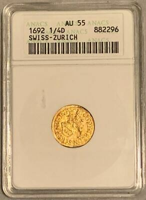 $997 • Buy Swiss-Zurich 1692 1/4 Ducat Gold Coin. RARE