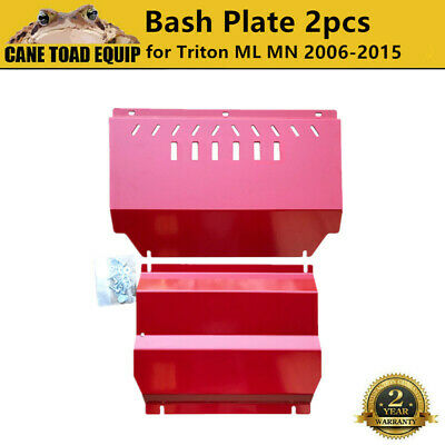 AU140 • Buy 3mm Red Bash Plate Sump Guard 2 Pieces For Mitsubishi Triton ML MN 2006-2015 Pow
