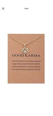 £2.99 • Buy Necklace Good Karma Pendant Chain Gold Gift Wish Card