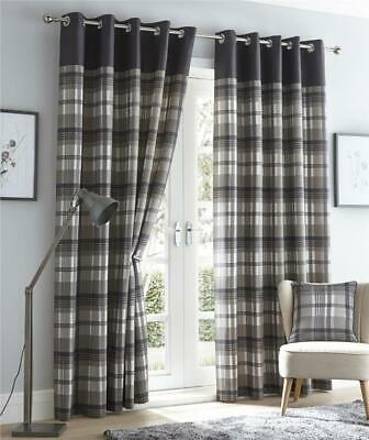 Grey Curtains Eyelet Ring Top Lined Curtains Tartan Check Ready Made • 35.99£