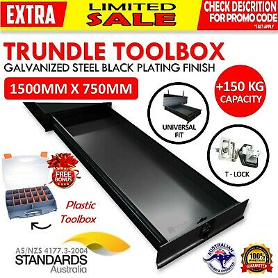 AU754 • Buy Under Tray Body Tool Box Trundle Drawer 1500 Long UTE Extra Truck ToolBox BLACK