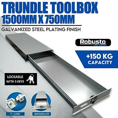 AU617.99 • Buy Under Tray Body Tool Box Trundle Drawer 1500 Long UTE Extra Truck ToolBox BLACK