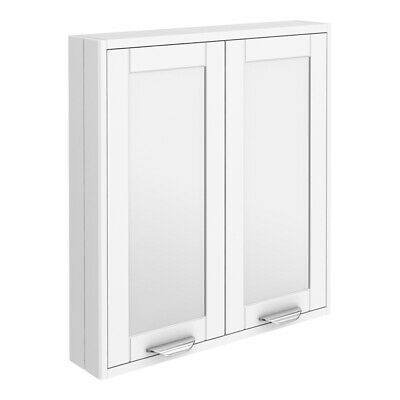 Keswick White 600mm Traditional Wall Hung 2 Door Mirror Cabinet • 125£