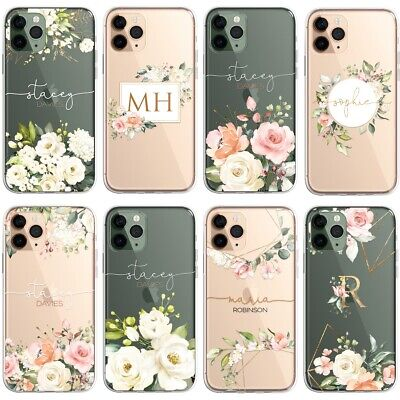 £5.99 • Buy Floral PERSONALISED CLEAR Initials Name Phone Case Cover For IPhone Samsung Gold