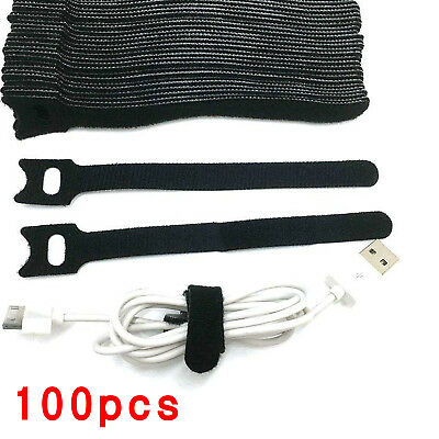 100X Reusable Nylon Wire Hook Loop Organiser Black Cable Ties Wrap Tidy Straps • 6.49£