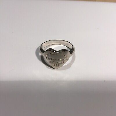 Tiffany & Co.  Please Return To Tiffany  Sterling Silver Heart Ring. Size 0 1/2 • 28.40£