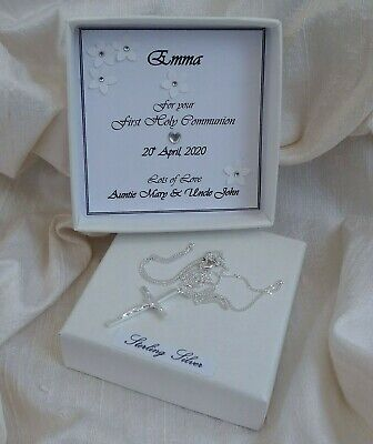 £11.95 • Buy First Holy Communion Gift Sterling Silver Crucifix Personalised Box Boy/girl