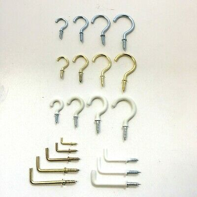Heavy Duty Small-Large Steel Cup/Dresser Hooks Various Sizes Zinc/Brassed/White • 2.50£