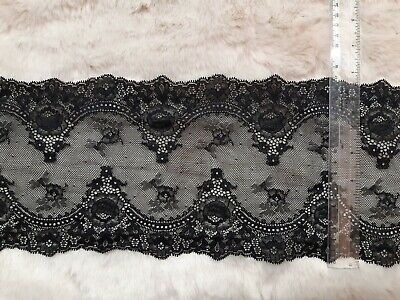 QUALITY BLACK SOFT STRETCH LACE 17cm WIDE TRIM CRAFTING LINGERIE MAKING FABRIC • 2.99£