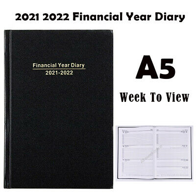 AU13.50 • Buy 2021 2022 Financial Year Diary Black Hard Cover Week To View A5