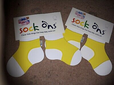 Baby Sock Ons Sock Keepers Size 0-6 Months - Yellow Boys Girls Unisex  • 10£