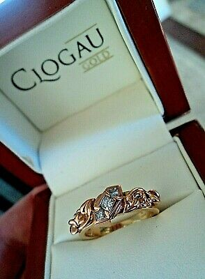 Clogau Welsh 18ct Yellow & Rose Gold Tree Of Life 3 X Diamond Ring - Size  M • 795£
