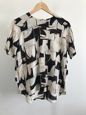 AU21 • Buy SABA Womens Silk Top Short Sleeve Size 6 Abstract Work Casual Office Blouse