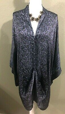 $149.99 • Buy Johnny Was BIYA Black Kimono Oversized 100% Silk Tunic Top/Dress- Sz L