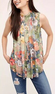 $ CDN53.66 • Buy Anthropologie Epona Swing Top Womens Small High Neck Ruffle Floral Print