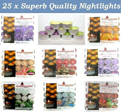 25 X SCENTED TEA LIGHTS CANDLES TEALIGHTS 8 HOURS BURNING TIME SUPERB QUALITY • 5.99£