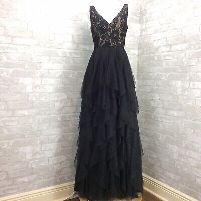 $97.19 • Buy Aidan Mattox Dress 6 Black Nude Ruffled Lace V-Neck Gown Tiered Tulle Skirt
