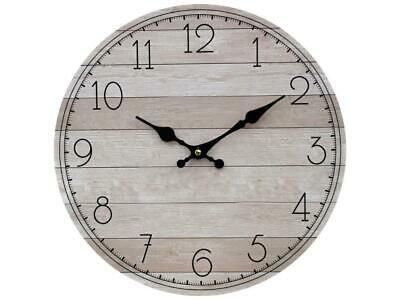 AU28.90 • Buy WALL CLOCK 34cm FRENCH Country Hamptons Natural BOARDS Coastal ROOM Home Decor