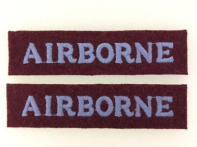 PAIR Of Britain/British Army WWII 'Airborne' Cloth Shoulder Titles Paratrooper • 3.95£
