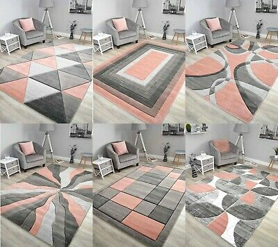 Blush Rose Pink Grey Floor Rug Small Extra Large Sizes Thick Soft Pile Mat Cheap • 15.99£