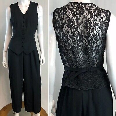$48 • Buy Vintage Black Button Down Floral Lace Belted 80s 90s Tuxedo Jumpsuit Small M