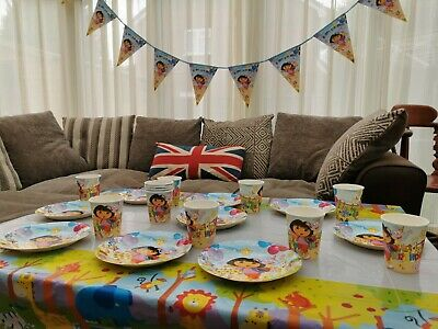 Dora Plate Cup Flag Kids Party Tableware Birthday Decorations Supplies • 2.49£