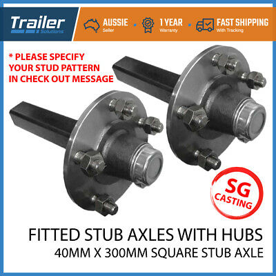 AU154.17 • Buy 2X Trailer 5 6 Stud Hubs 1000kg 1T 40mm Fitted SQ Stub Axles Holden LM Bearing