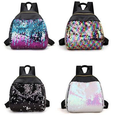 $17.79 • Buy Women Girls Glitter Sequins Bling Backpack School Creative Rucksack Shoulder Bag