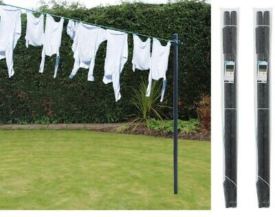 £44.99 • Buy 2x Galvanised Clothes Post Pole Washing Line Airer 30M PVC Dryer Line H2.4 M/8ft