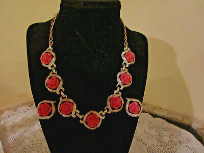$20.69 • Buy Sarah Coventry Faux Coral Roses Necklace & Clip Earrings Set Gold Tone