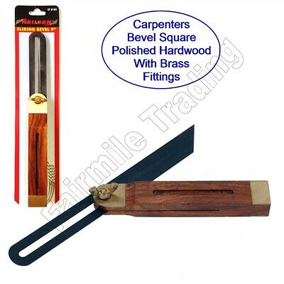 9  Hardwood Adjustable Sliding Bevel Square Wood Work Carpenter Angle Find Gauge • 5.99£