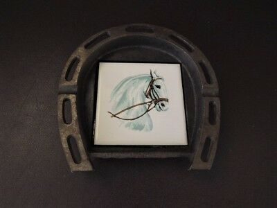 Vintage Horseshoe Trinket Dish - Cast Iron & Porcelain Hand Painted Shire Horse • 24.99£