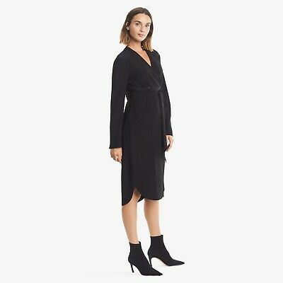 $ CDN120.69 • Buy NWT MM LaFleur Gosia Dress Size 8 Tall Black Wave Crepe Long Sleeve