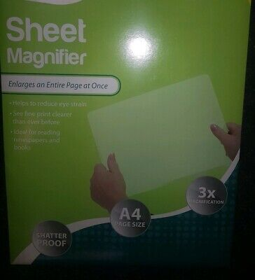 Large A4 Magnifying Sheet Magnifier Maps  Books Reading Elderly Stiff NEW  • 3.99£