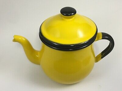 $25 • Buy Vintage Enamel Tea Pot Bright Yellow Black Trim Enamelware Made In Japan 5