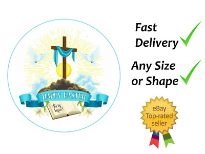 Happy Easter With Cross And Bible Cake Topper Edible Icing Or Wafer  • 7.99£