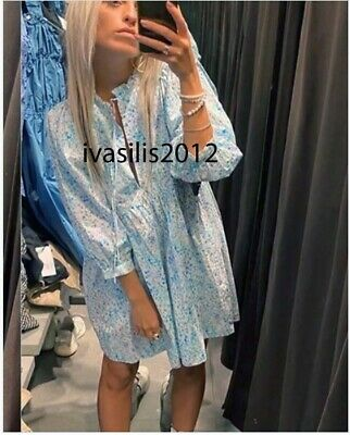 $39.89 • Buy Zara New Woman Short Floral Printed Poplin Dress Ruffle Blue Xs-xxl 4786/054