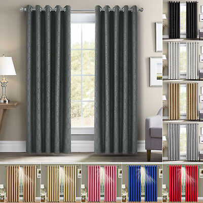 Summer Ring Top Thermal Blackout Pair Curtains Eyelet Ring Top + Free Tie Backs • 28.99£