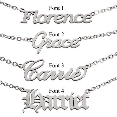 Personalised Name Pendant Necklace Chain Stainless Steel Custom Font Jewellery  • 9.95£