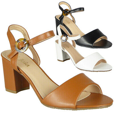 £13.99 • Buy Womens Sandals Open Toe Ladies Summer Strappy Buckle High Heels Comfy Shoes Size
