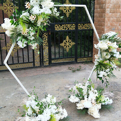 $89.93 • Buy White Hexagon Wedding Arch Bridal Outdoor Garden Floral Decoration Arch 2.4M 2M