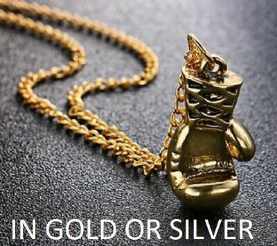 Silver Gold Boxing Gloves Necklace Ladies Mens Boxer Pendant Train Gym Glove  • 4.95£