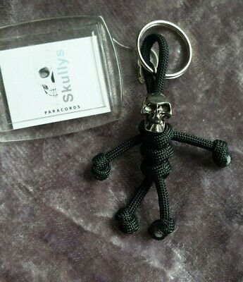 Skull Paracord Keyring Handmade In The UK Black • 6.95£