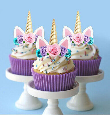 AU13.25 • Buy 24 PRE-CUT Edible Unicorn Gold Horn Cupcake Cake Toppers Images Cake Decoration