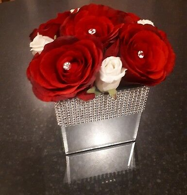Artificial Roses In A Mirror Cube Vase • 20£