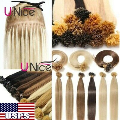 $30.33 • Buy UNice 100S Pre Bonded Nail U Tip Keratin Real 100% Human Remy Hair Extensions US