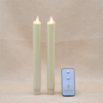 £22.99 • Buy Luminara LED Flameless Moving Wick Taper Candles Ivory Remote Timer Set Of 2 8''
