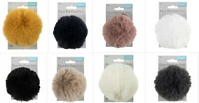 LUXURY FAUX FUR POM POMS By Trimits With Ribbon Ties 4 COLOURS SUPER QUALITY • 4.99£