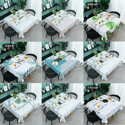 AU28.33 • Buy Square Dining-table Kitchen Easy Clean PVC Waterproof Table Cloth Desk Cover